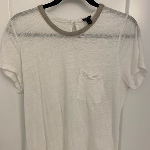 JCrew linen white top w detailed neckline Size L
